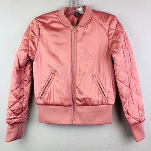 Divided pink puffer jacket